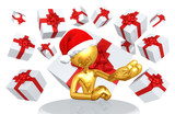 The Original 3D Character Illustration With A Santa Hat And Gifts - 192777348