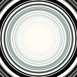 Black and white concentric circles on a square background. Radial rings resonating from center in a circular pattern.