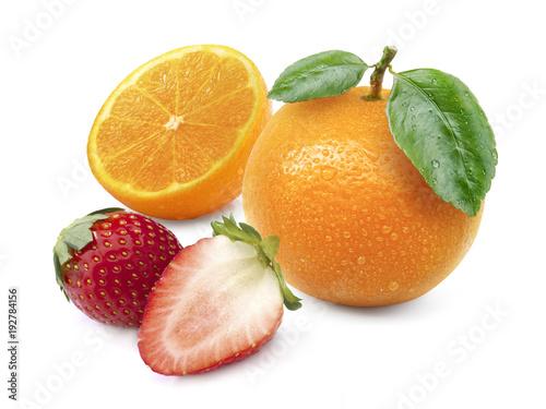 Orange fruit and Strawberry isolated on white background.