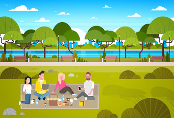 Happy People Having Picnic In Park Group Of Young Men And Women Sitting On Grass Relaxing Flat Vector Illustration