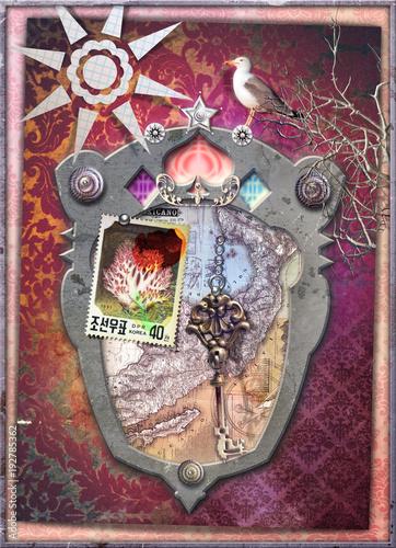 Deurstickers Imagination Finestra fantastica sui sogni con chiave d'oro