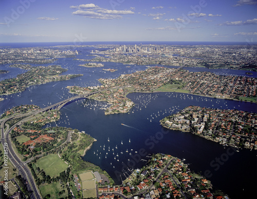 Fotobehang Sydney Aerial view of the Parramatta river and Gladesville bridge, Sydney , Australia.
