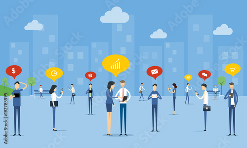 business people communication on social network  concept and business online connection concept