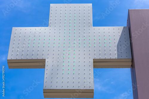 Fotobehang Apotheek enseigne de pharmacie, croix verte