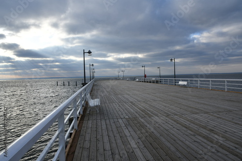 impressions from jastania, a seaside resort on the polish baltic sea coast, here you can see the beautiful pier of the place, zatoka pucka, kashubia, pomerania, poland