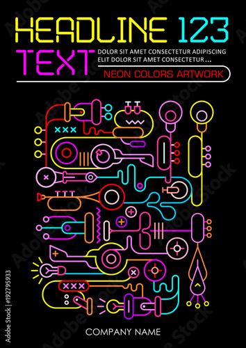 Foto op Canvas Abstractie Art Neon Colors Template Design