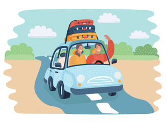 illustration of woman in car on road