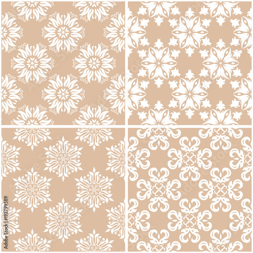 Fotobehang Stof Floral patterns. Set of beige and white seamless backgrounds