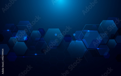 Blue abstract hexagons technology digital hi tech concept background