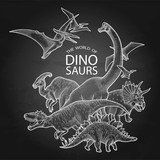 Group of graphic dinosaurs - 192809726