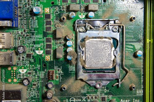 Foto op Plexiglas Wand dirty processor with dried up termopast