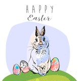 Easter Sale banner or print with cute hand drawn text and Bunny in vector. Inspirational poster. Spring trendy background. Discount design. - 192811745