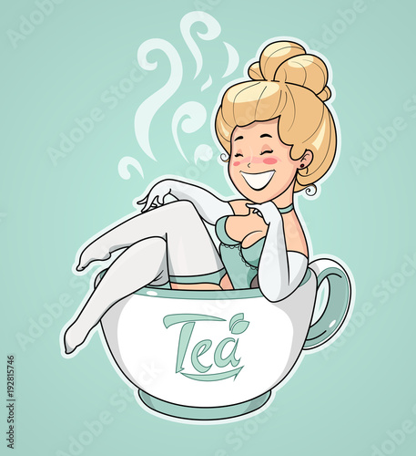 Beautiful girl sit in tea cup. Pin-up Character for cafe.