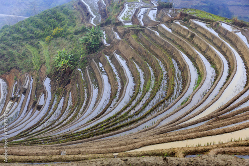 Deurstickers Rijstvelden Paddy fields, Rice terraces. In Yunnan province China