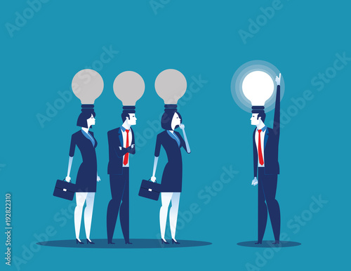 Fototapeta Bulb head manager. Concept business vector illustration. Flat character style.