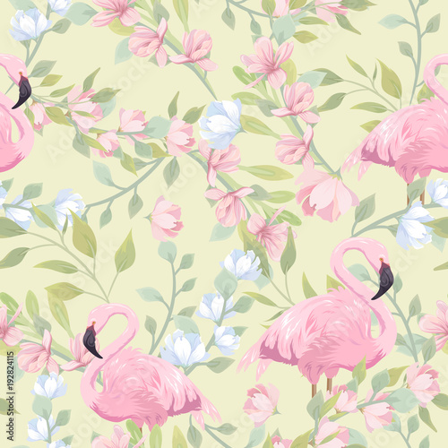 Seamless gentle pattern with pink flowers and flamingo - 192824115