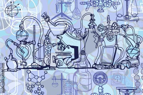 Wektorowy bezszwowy wzór z nakreślenie elementami odnosić sie nauka lub edukacja. Fizyka lub chemia streszczenie tło z części dekoracyjne narzędzia laboratoryjne i sprzęt. Ręcznie rysowane.