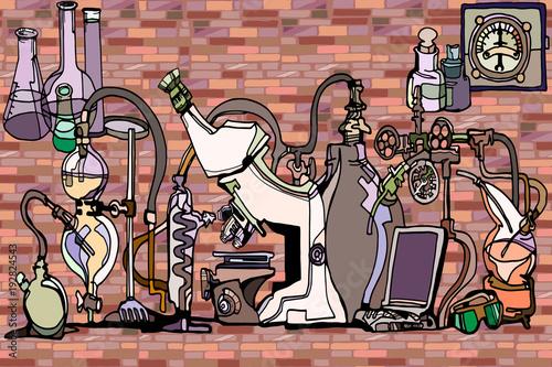 vector-nahtloses-muster-mit-den-skizzenelementen-die-auf-wissenschaft-oder-bildung-bezogen-werden-abstrakter-hintergrund-der-physik-oder-der-chemie-mit-teilen-von-dekorativen-laborwerkzeugen-und-ausrustung-gegen-backsteinmauer-handgemalt-