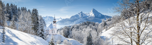 Church of Maria Gern with Watzmann in winter, Berchtesgadener Land, Bavaria, Germany © JFL Photography