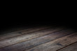 Dark Plank wood floor texture perspective background for display or montage of product,Mock up template for your design