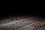 Dark Plank wood floor texture perspective background for display or montage of product,Mock up template for your design - 192827984