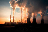 coal fired power station silhouette at sunset, Pocerady, Czech republic - 192828957