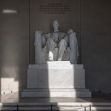 Statue of Abraham Lincoln, Lincoln Memorial at sunrise, Washington DC - 192830740