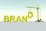 BRAND building concept crane white background 3d illustration