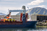 Ship in the port of Myre near Niksund to the Lofoten in Norway - 192834510