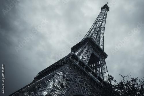 Fotobehang Eiffeltoren Looking up on Eiffel Tower, toned photo