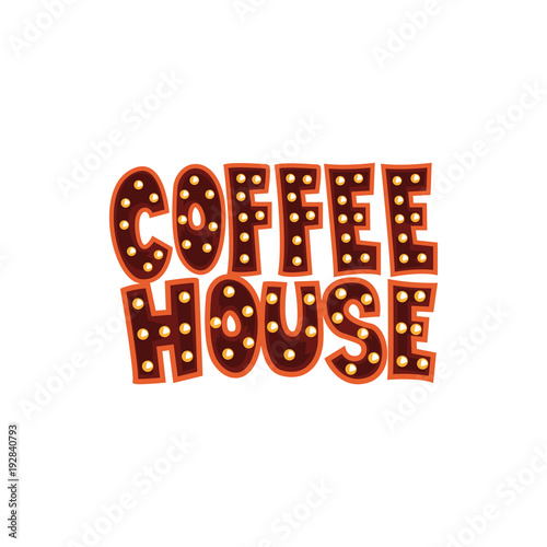 Coffee house intage cafe sign cartoon vector Illustration on a white background