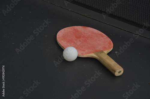 Fotobehang Tennis Ping pong paddle and ball