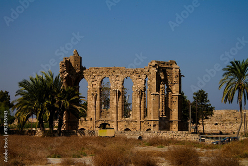 In de dag Cyprus Ruins of Church of St. George of the Latins at Famagusta, Cyprus
