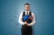 roleta: Boy with office symbol concept and flag
