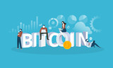 Bitcoin exchange. Flat design style web banner of blockchain technology, bitcoin, altcoins, cryptocurrency mining, finance, digital money market, cryptocoin wallet, crypto exchange.  - 192851714