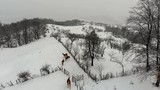 Countryside landscape with snowy horse paddock, winter season. - 192857384