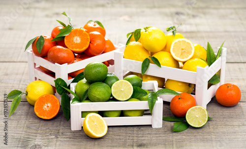 Fresh citrus fruits - lime, lemon and tangerine in the crate - 192857539