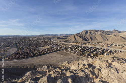Poster Las Vegas Desert suburban view from top of Lone Mountain Peak in Las Vegas Nevada.