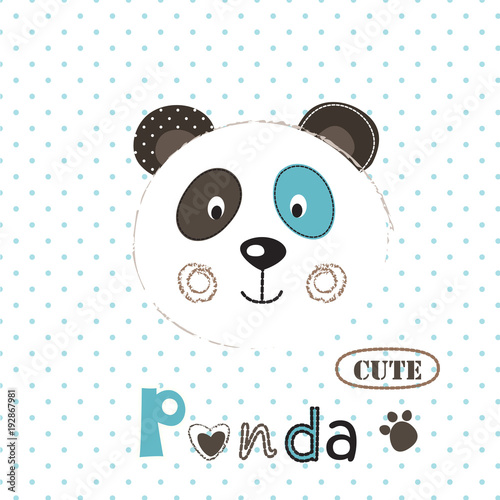 Fototapeta Vector illustration with cute panda
