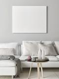 Mock up poster in Scandinavian living room, your artwork here, 3d render, 3d illustration - 192868381
