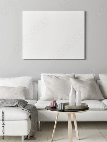 Wyśmiewa w górę plakata w Skandynawskim żywym pokoju, twój grafika tutaj, 3d odpłaca się, 3d ilustracja