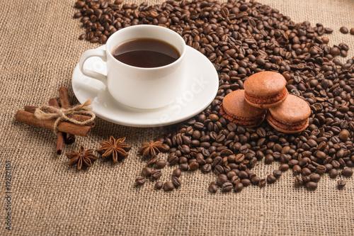 Fotobehang Koffiebonen macaroons coffee