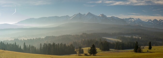 Winter panorama of the High Tatras in Poland