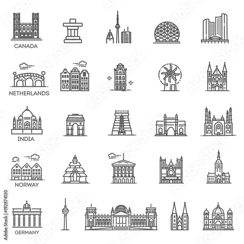 Simple linear Vector icon set representing global tourist landmarks and travel destinations for vacations © tettygreen
