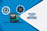Cinema movie title screen concept. Thanks for watching. Vector design with retro looking movie projector with film reels and projecting beam as copy space container. Video clip vector illustration - 192874375