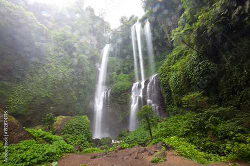 Hidden in jungles beautiful Sekumpul waterfall on Bali, Indonesia