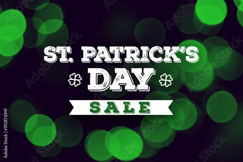 St. Patrick's Day Sale Holiday Text Over Green Duotone Background