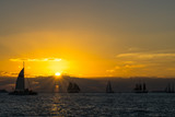 USA, Florida, Spectacular sunset at key west with many sailboats on the water and orange sky - 192877966