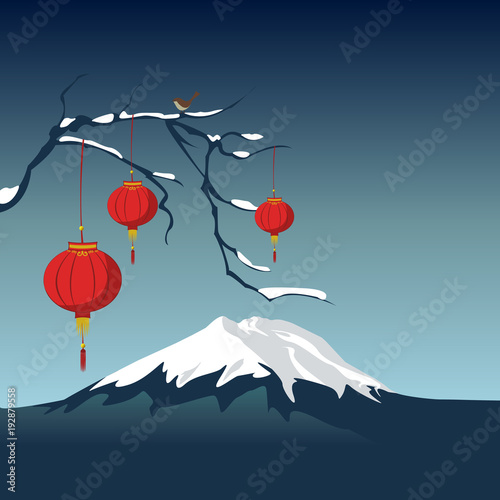 mountain in snow and laterns on a branch of sakura with bird