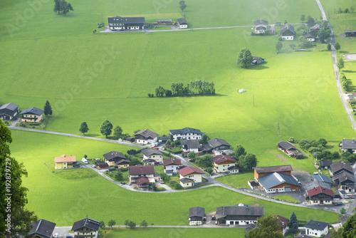 Fotobehang Pistache paysage avec maisons,